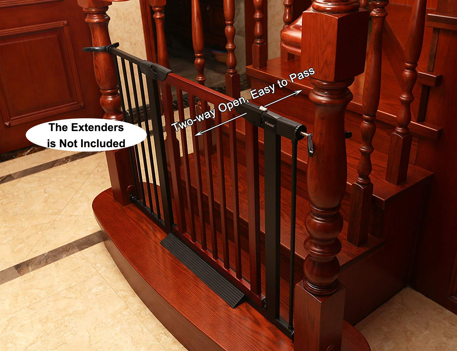 Baby Gate/Baby Gate for Stair with Banisters/Pet Gate, Fit Stairway or Doorway, Extendable, Auto Close, Pressure Mount (Wooded) by KINGBO (Image #6)