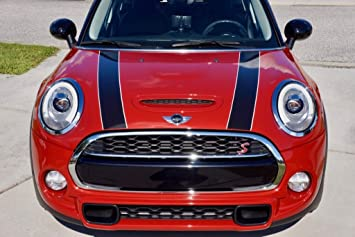 The Pixel Hut gs00071 Black with Red Border Hood Stripes for MINI Cooper and S R56 2007-2013