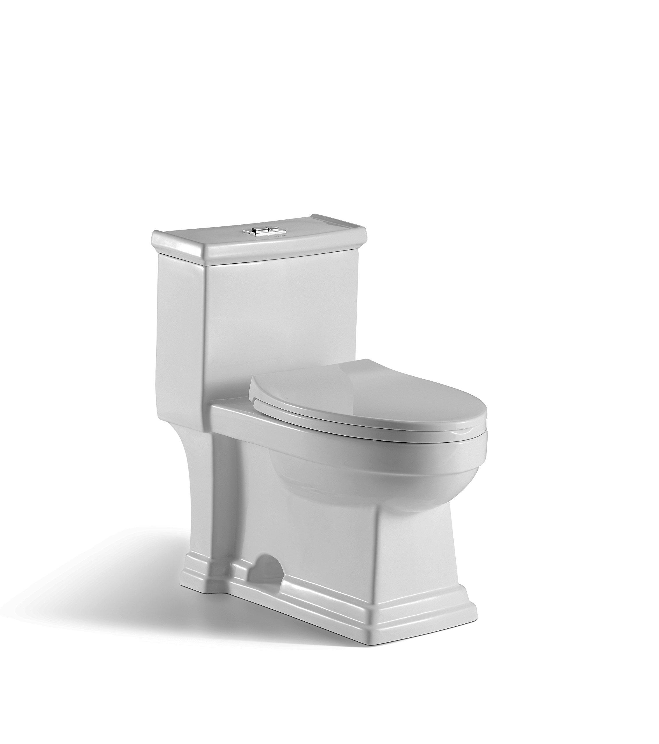 innoci-usa Block 1-piece 1.0 GPF/1.5 GPF High Efficiency Dual Flush Elongated Toilet in White