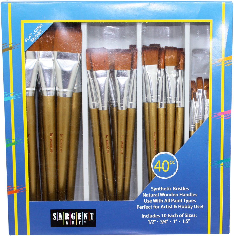 Sargent Art 56-3101 40 Piece Flat Jumbo Brush Set by Sargent Art