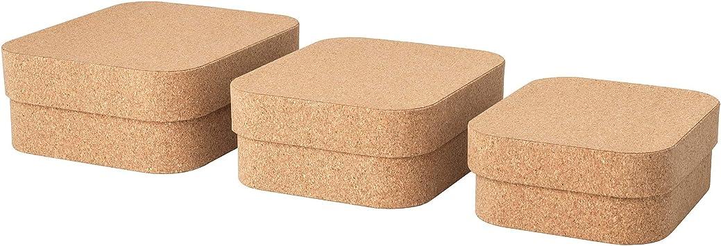 IKEA 404.137.39 Sammanhang - Caja con tapa (3 unidades, corcho ...