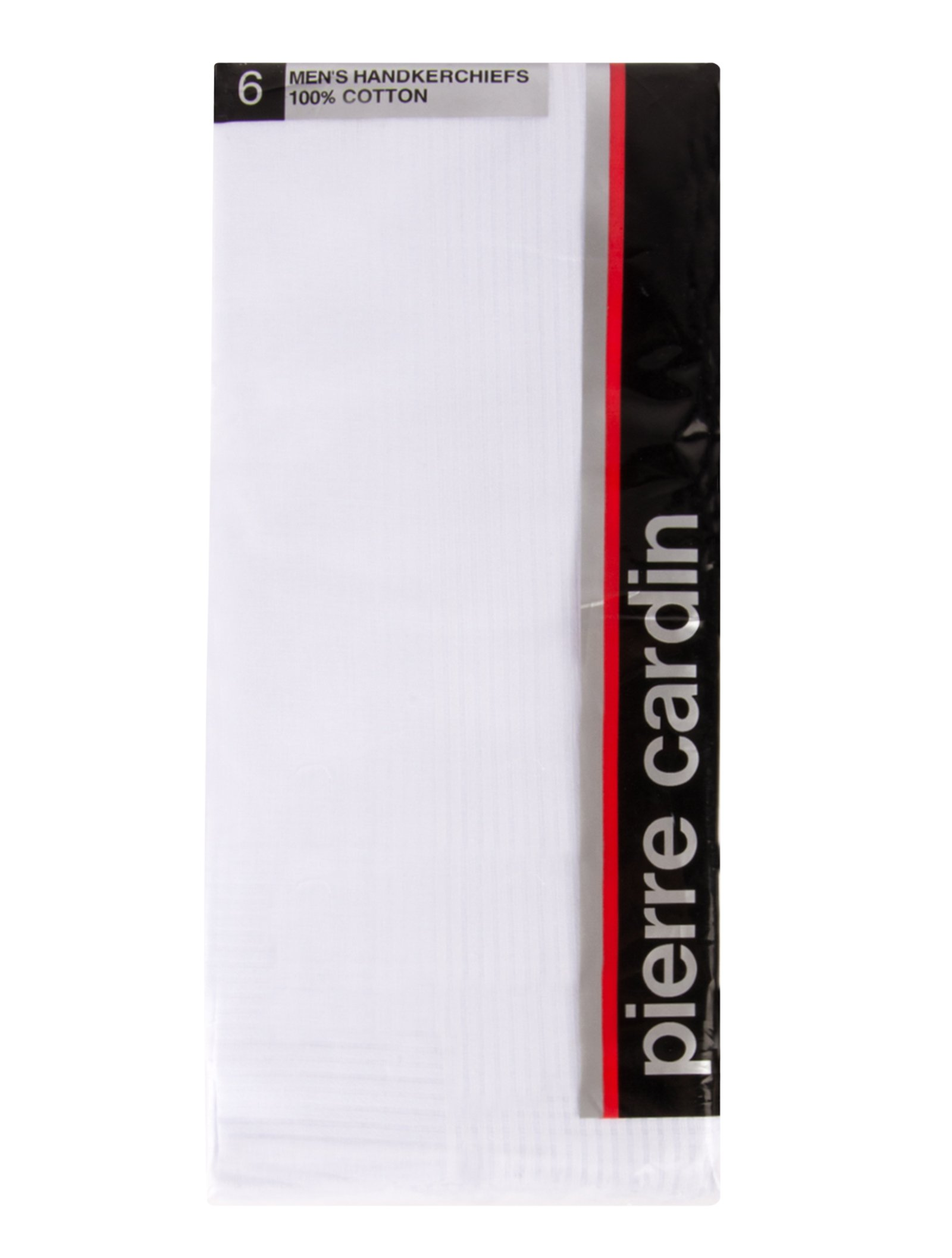 "Pierre Cardin Designer Classic Men's Handkerchiefs Hand Rolled Stripe 6 Pack Hankies Solid Pure White 100% Cotton Large 18"" x 18"""