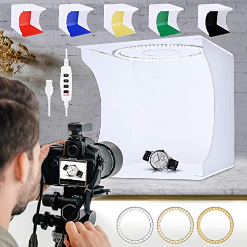 SLOW DOLPHIN Folding Photo Studio Lightbox Kit w/ Adjustable 80 LED Ring Light and 6 Colored Backdrops