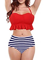Swimsuits for women high waisted Flounce Top Bathing Suits Swimwear Prime