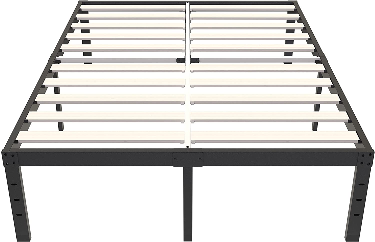 ZIYOO 18 Inch Queen Size Bed Frame with Solid Wooden Slats, Maximum Storage Metal Platform, No Box Spring Needed Heavy Duty Mattress Foundation 3500lbs Support, Easy Assembly, Noise Free