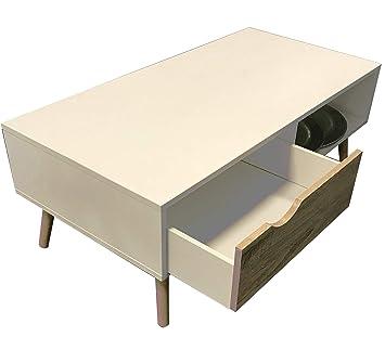Wohnzimmer Tisch Skandinavisches Design | Sägerau Optik Weiß Modern |  COUCHTISCH Buche TV