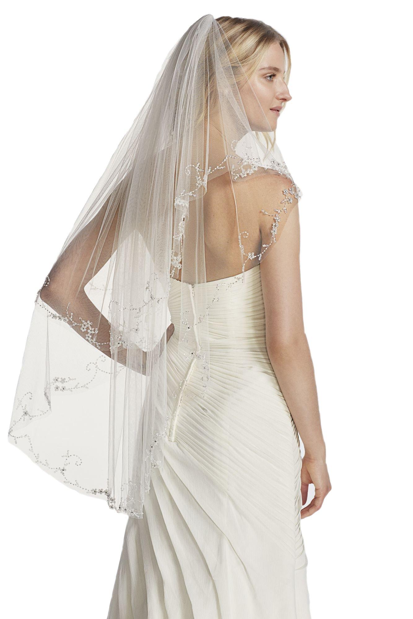Passat Diamond White Two-Tier 36'' Fingertip Wedding Bridal Veil DB133