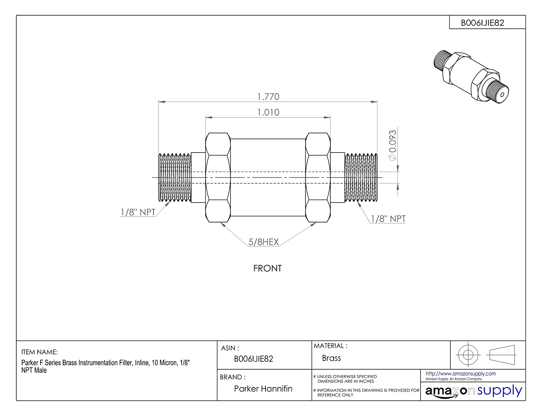 3//8 NPT Male 1 Micron Parker F Series Brass Instrumentation Filter Inline