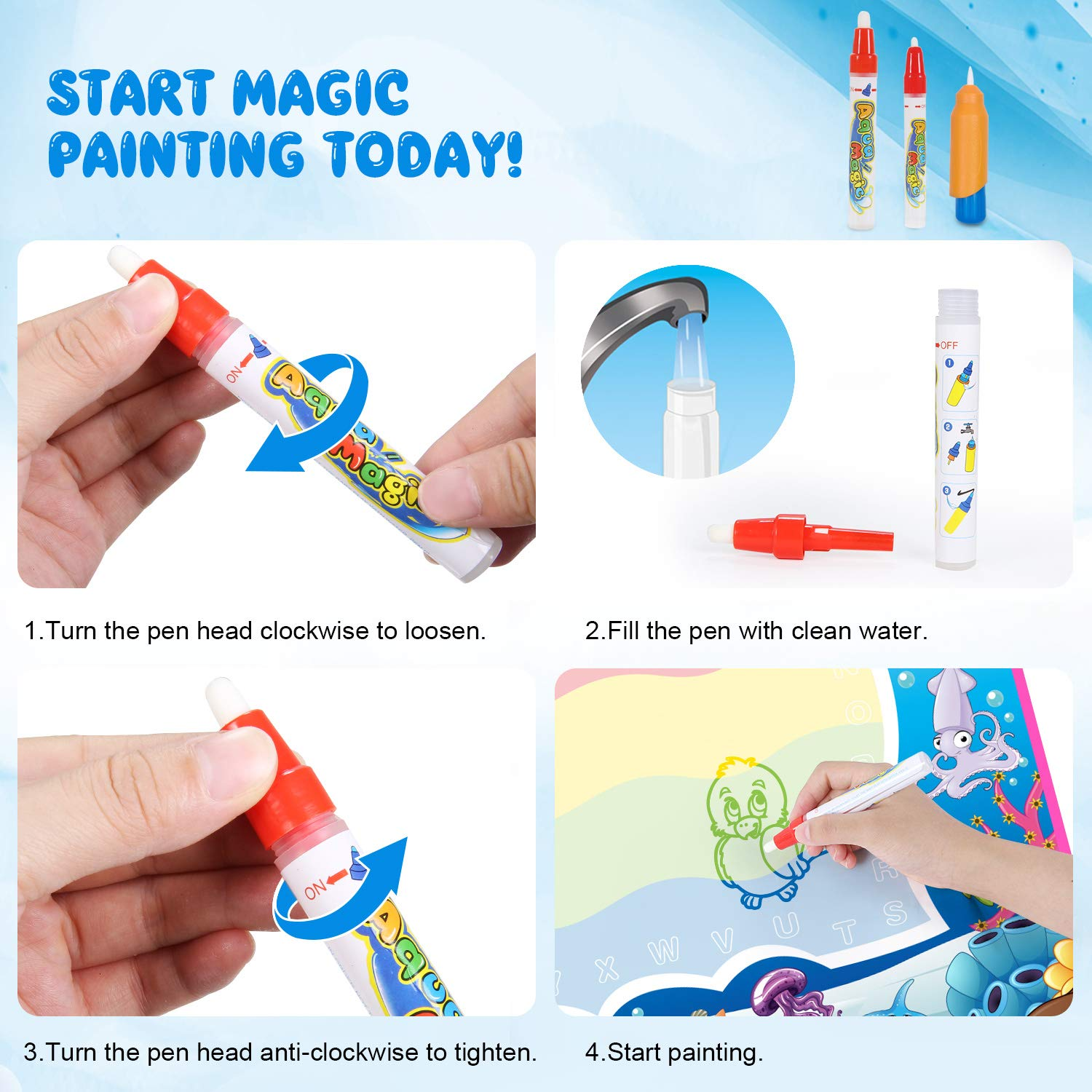 Non-Toxic Colorful Erasable Sketching Pad Tablet Toddler Kids Preschooler SGILE Magnetic Drawing Board Toy Travel Magna Doodle Drawing Writing Sketching Pad 3 Stamps Blue
