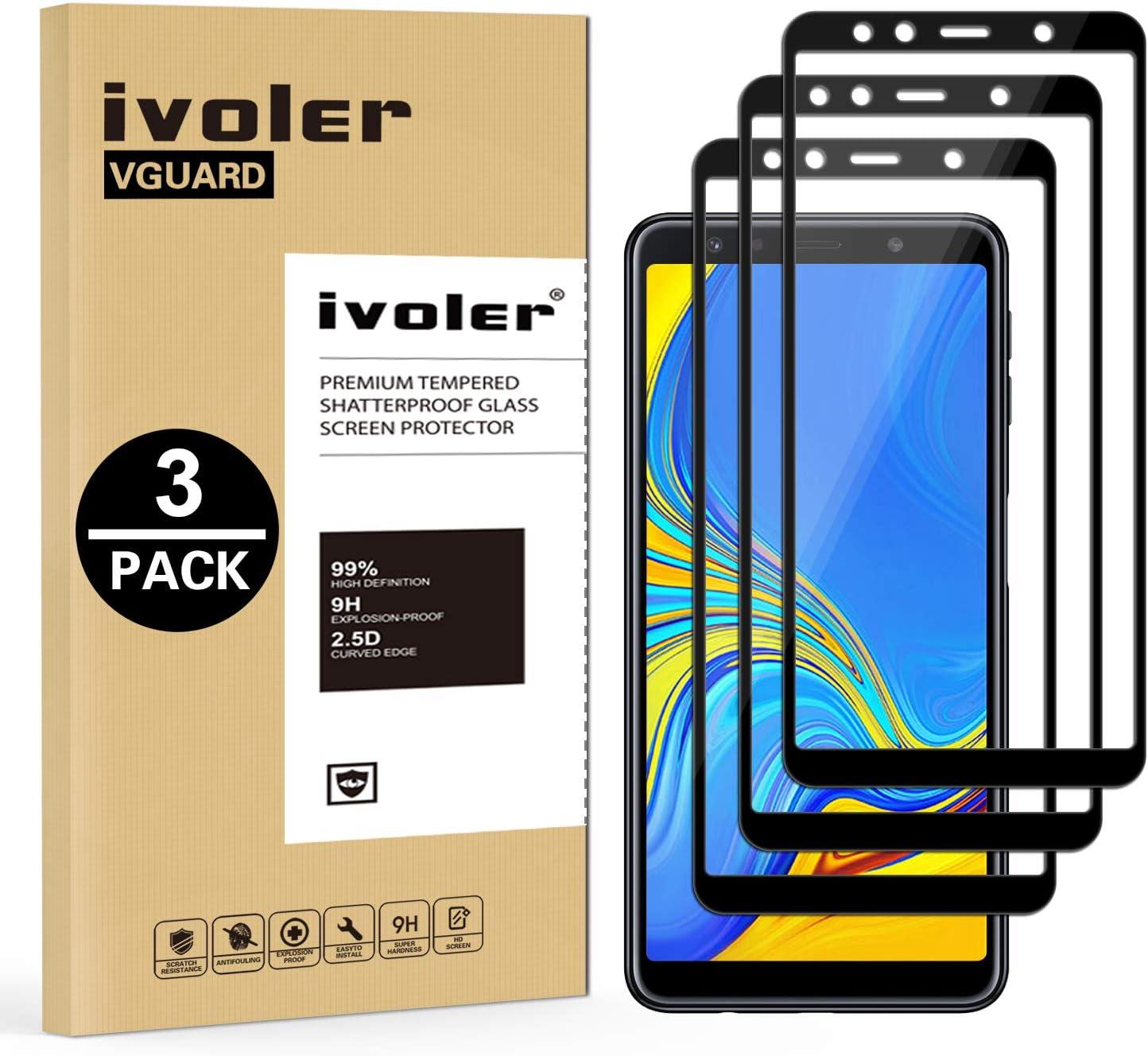 ivoler [3 Unidades] Protector de Pantalla Compatible con Samsung Galaxy A7 2018, [Cobertura Completa] Cristal Vidrio Templado Premium, [Dureza 9H] [Anti-Arañazos] [Sin Burbujas]: Amazon.es: Electrónica