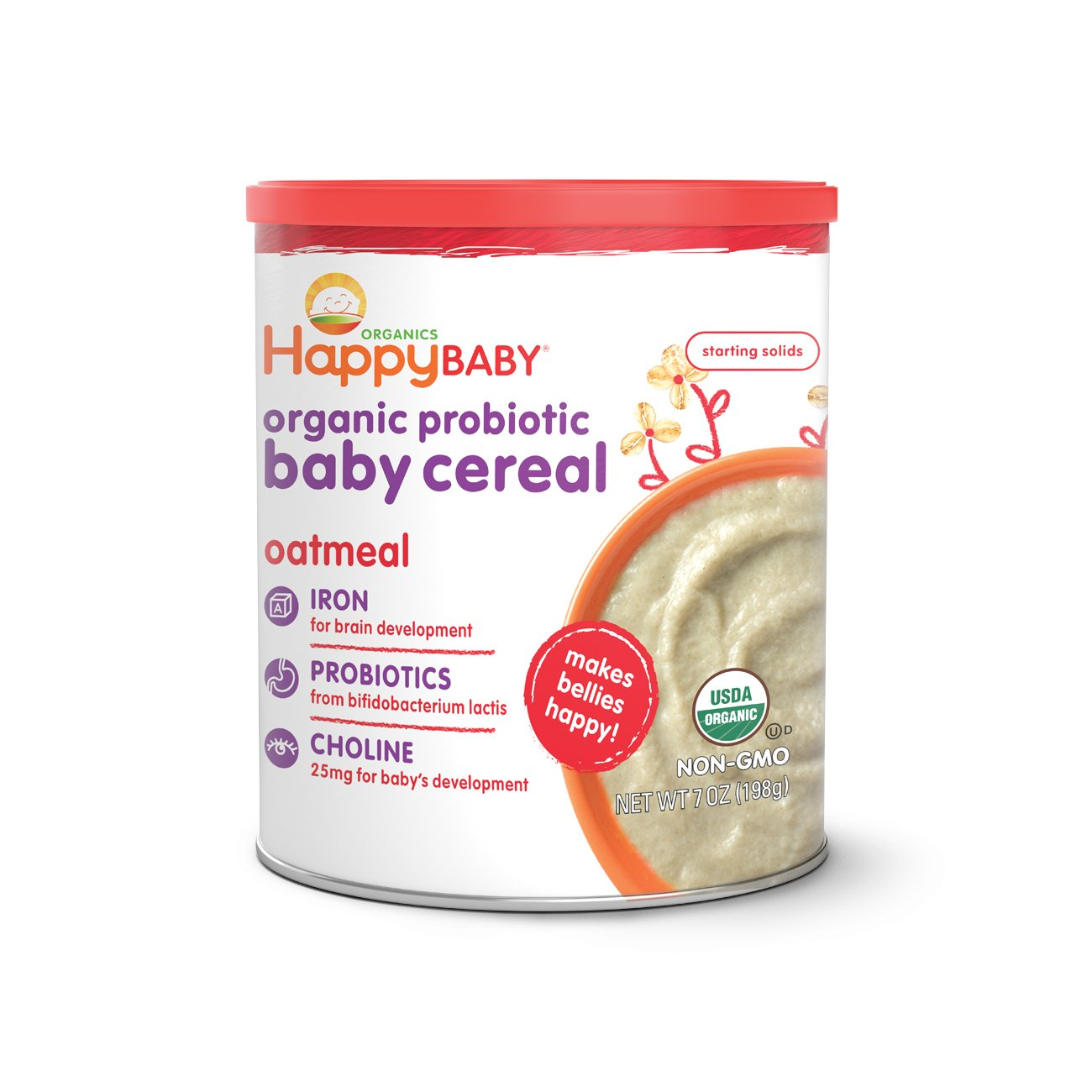 Happy Baby Organic Probiotic Baby Cereal with Choline, Oatmeal, 7 Ounce Canister (Pack of 6) Packaging may vary