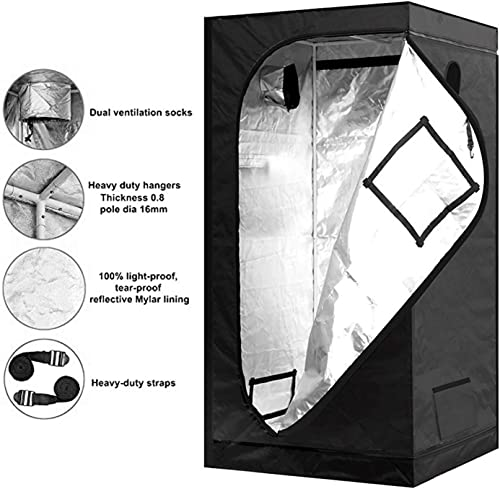 Hon Guan 48 x48 x78 Grow Tent, 600D Mylar Hydroponic Indoor Grow Room for Grow Light and Growing Plant with Observation and Floor Tray for Indoor Plant Growing 4 x6.5