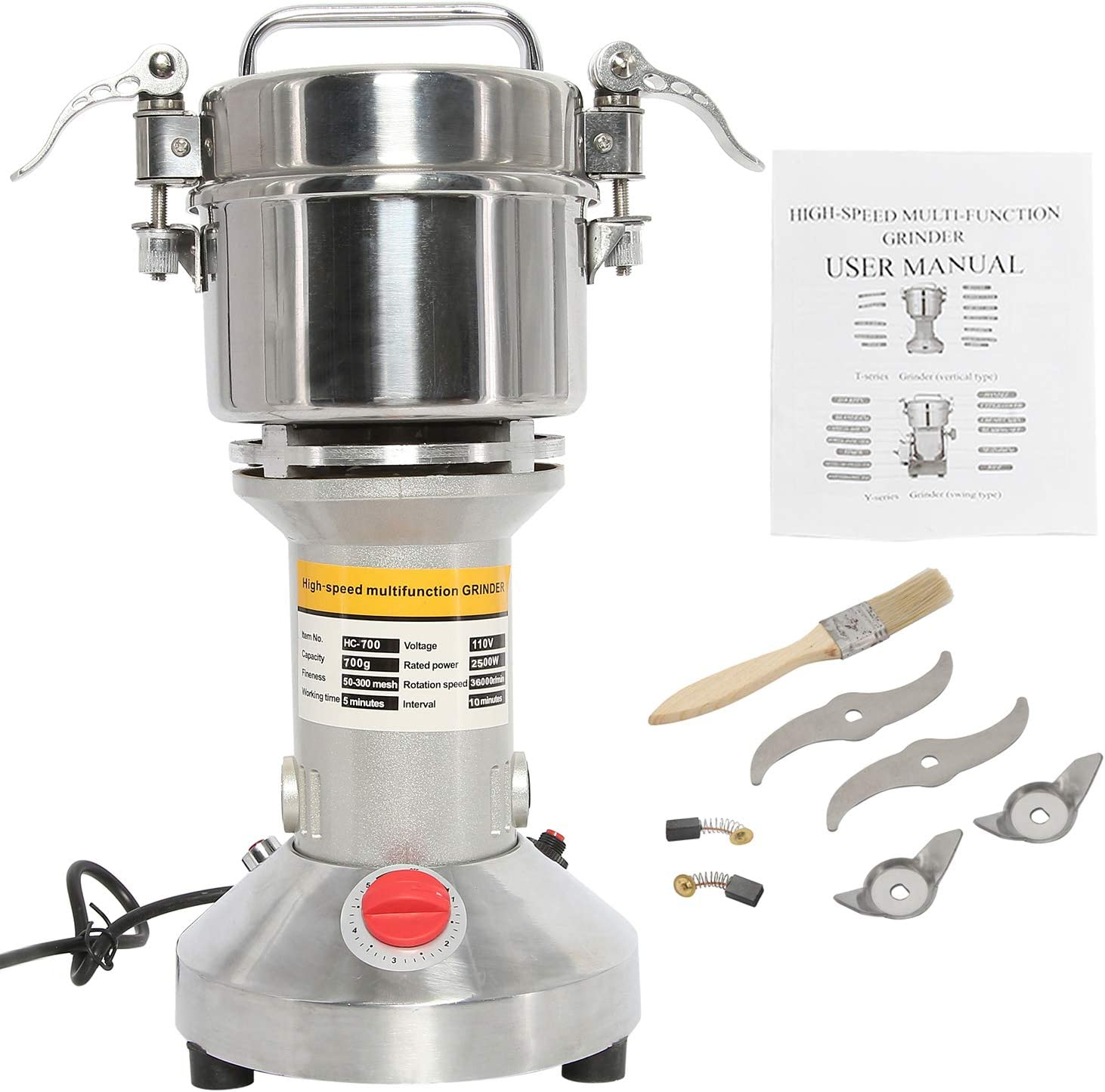 HYDDNice 700g Grain Mill Grinder 2500w 50-300 Mesh 36000RPM High Speed Electric Stainless Steel Grinder Spice Herb Cereals Corn Flour Powder Machine Commercial Grade