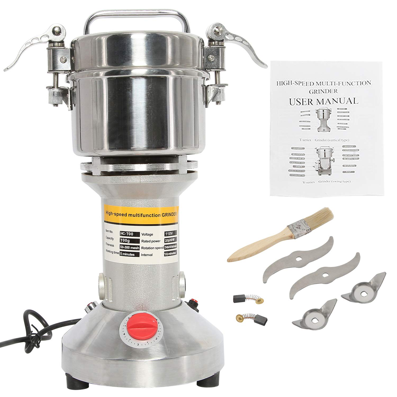HYDDNice 700g Grain Mill Grinder 2500w 50-300 Mesh 36000RPM High Speed Electric Stainless Steel Grinder Spice Herb Cereals Corn Flour Powder Machine Commercial Grade by HYDDNice