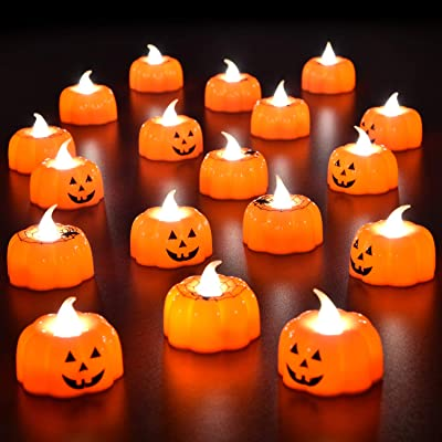 "18PCs Halloween party favors 3D Pumpkin Flameless Candle Battery Operated LED Candle for Halloween Decorations,Themed Party Supplies,1.9""x1.7"", Warm White Flickering: Toys & Games"