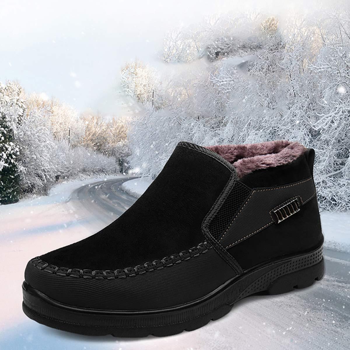 Fad-J Wintermänner lässige Schuhe, Mode Plus samtige warme Baumwollschuhe, runde Kopfschuhe,schwarz,43