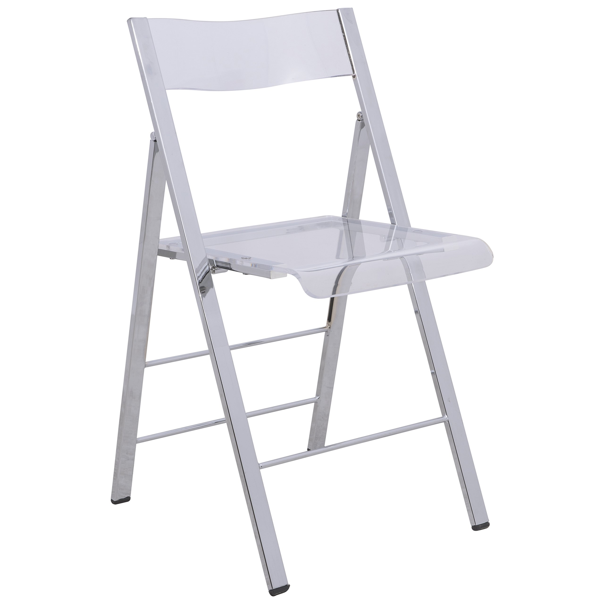 LeisureMod Milden Modern Acrylic Folding Chairs in Clear