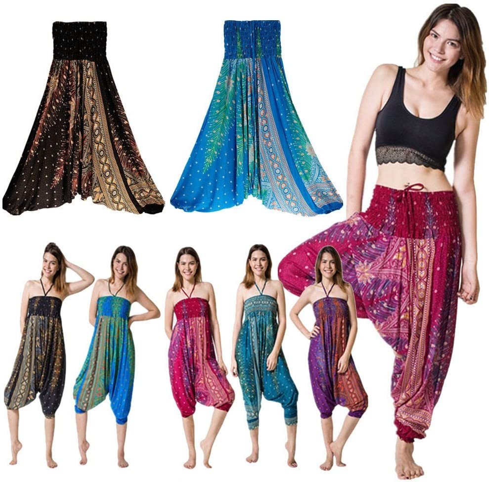 CSSD Women {Thai Harem} Trousers {Boho Aladdin} Jumpsuit {Harem Pants} {Hippy Smock} {High Waist} {Yoga} Pants Free Size, Blue
