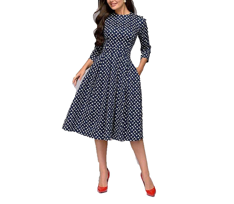 Manal 0570 Na CoraSheep Women Elegant Aline Vintage Printing Three Quarter Sleeve Spring Dress