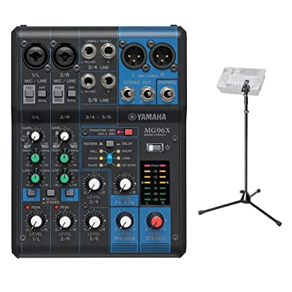 Yamaha MG06 X (6-input estéreo mezclador con efectos y Yamaha mezclador soporte Bundle