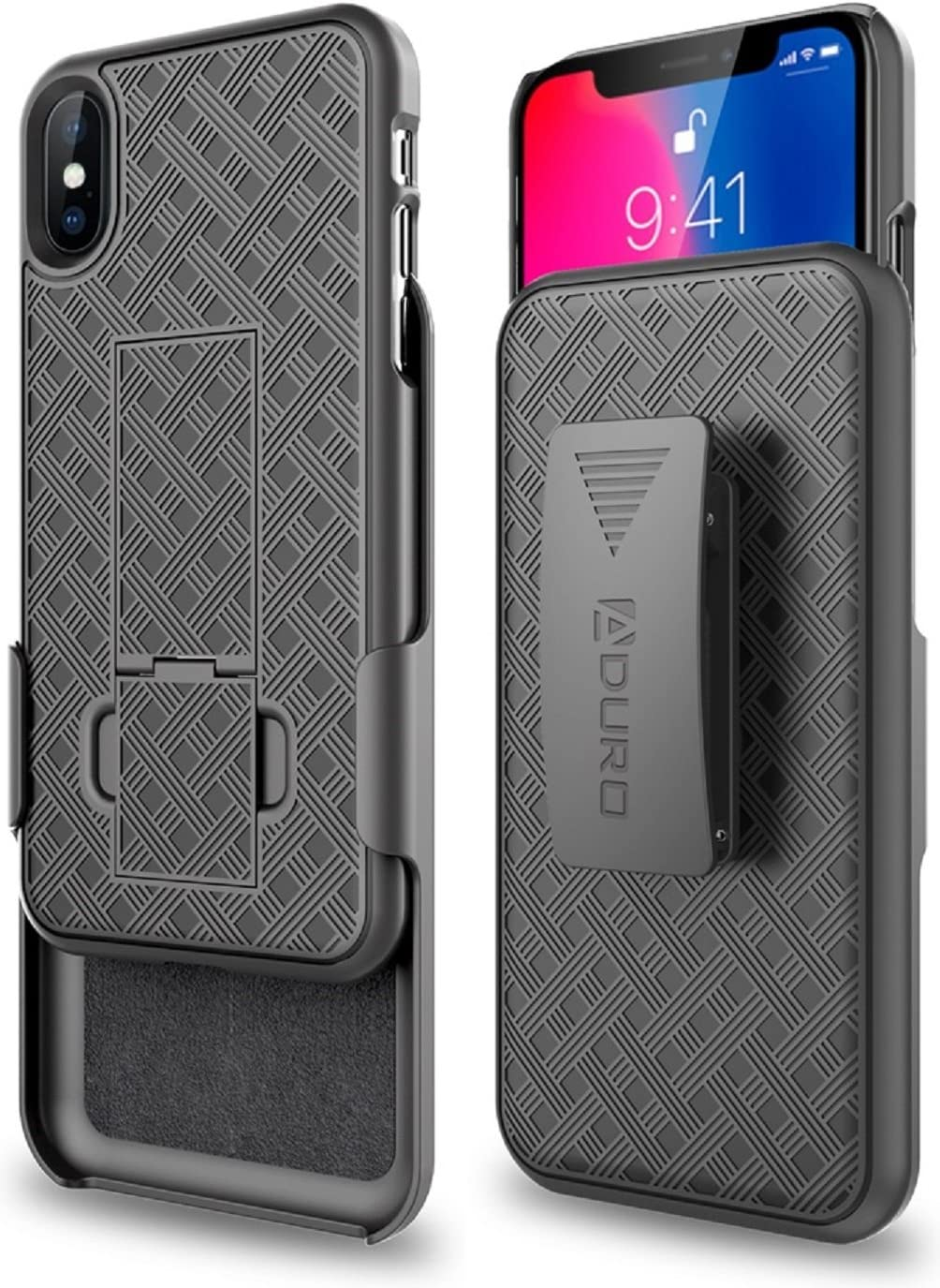 Aduro iPhone X/XS Holster Case, Combo Shell & Holster Case - Super Slim Shell Case with Built-in Kickstand, Swivel Belt Clip Holster for Apple iPhone X/XS/iPhone 10 (2018/2017)