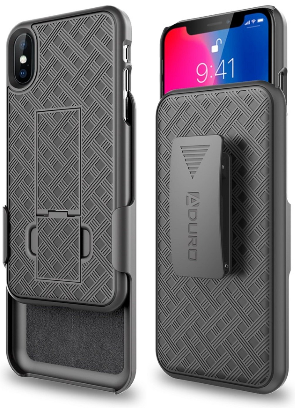 Aduro iPhone X/XS Holster Case, Combo Shell & Holster Case - Super Slim Shell Case with Built-in Kickstand, Swivel Belt Clip Holster for Apple iPhone X/XS/iPhone 10 (2018/2017) by Aduro