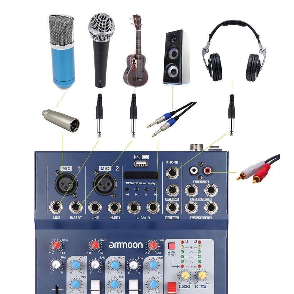 ammoon F4-USB 3 Canales Digitales de Micr/ófono de L/ínea de Audio de Mezcla Mezclador Consola con 48 V de Alimentaci/ón Phantom para la Grabaci/ón de DJ Etapa M/úsica Karaoke Valoraci/ón