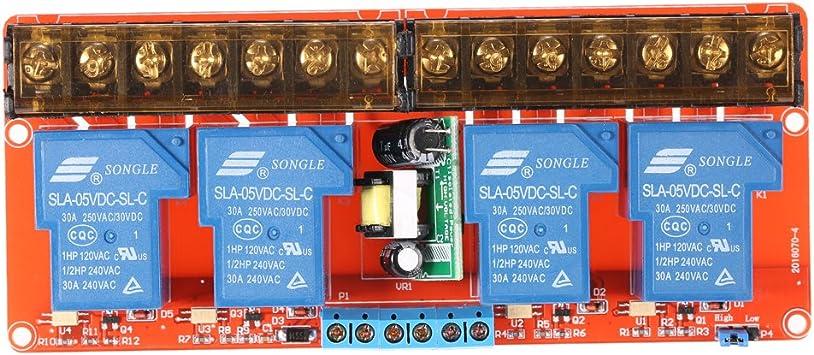 SNOWINSPRING 5 V 2 Canaux 30A Module de Relais de D/éClenchement de Haut et Bas Niveau Contr?le DAutomatisation de PLC Domestique Intelligent