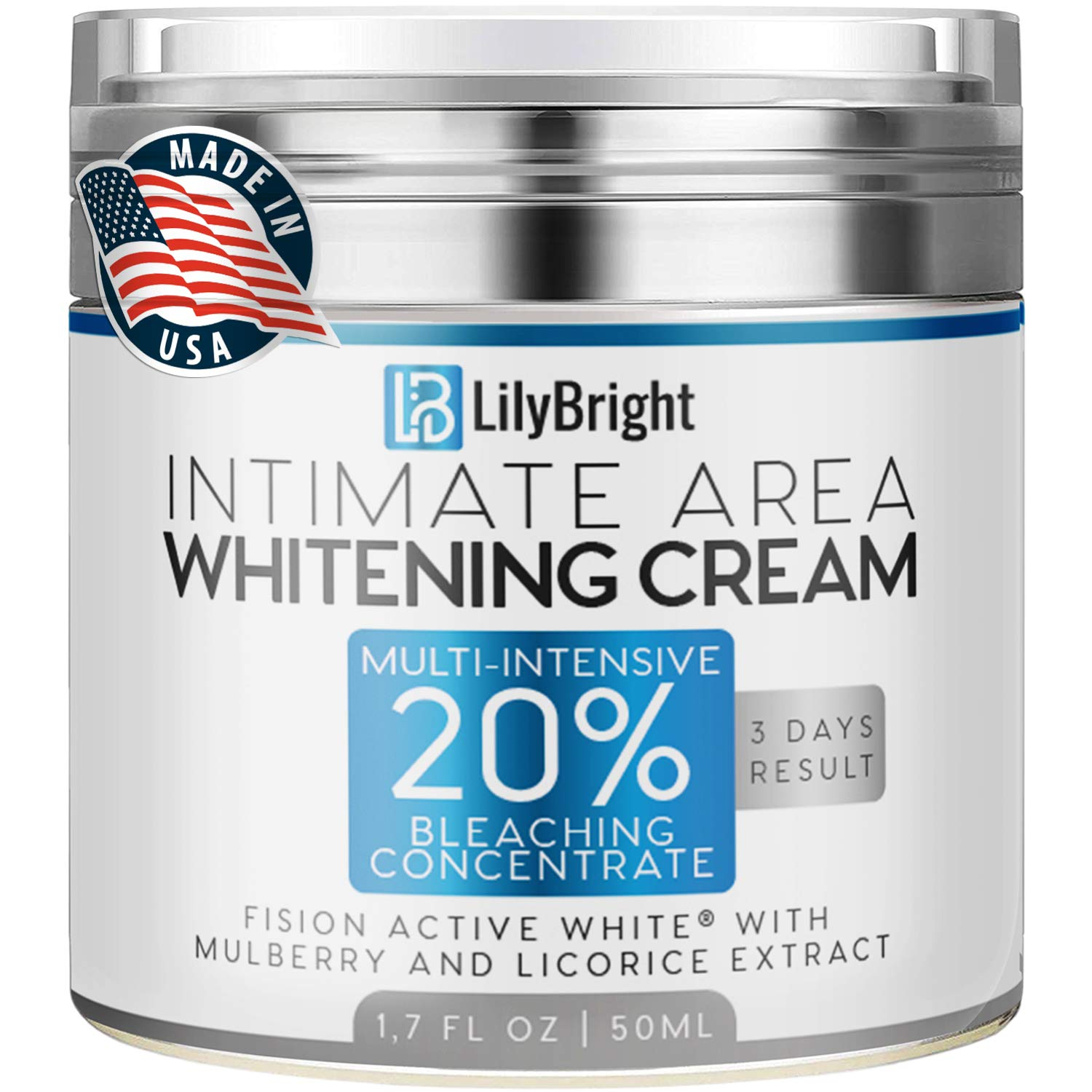 Whitening Cream With Alpha Arbutin - Made in USA - Dark Spot Corrector For Face And Sensitive Skin - Provides Effective Bleaching for Private Parts, Sun Spots, Age Spots & Melasma Treatment - 50 ML by LilyBright