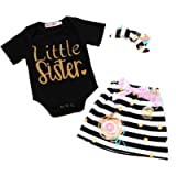 i-Auto Time Baby Girl Clothes Little Big Sister T-Shirt Romper Skirt Headband Outfit