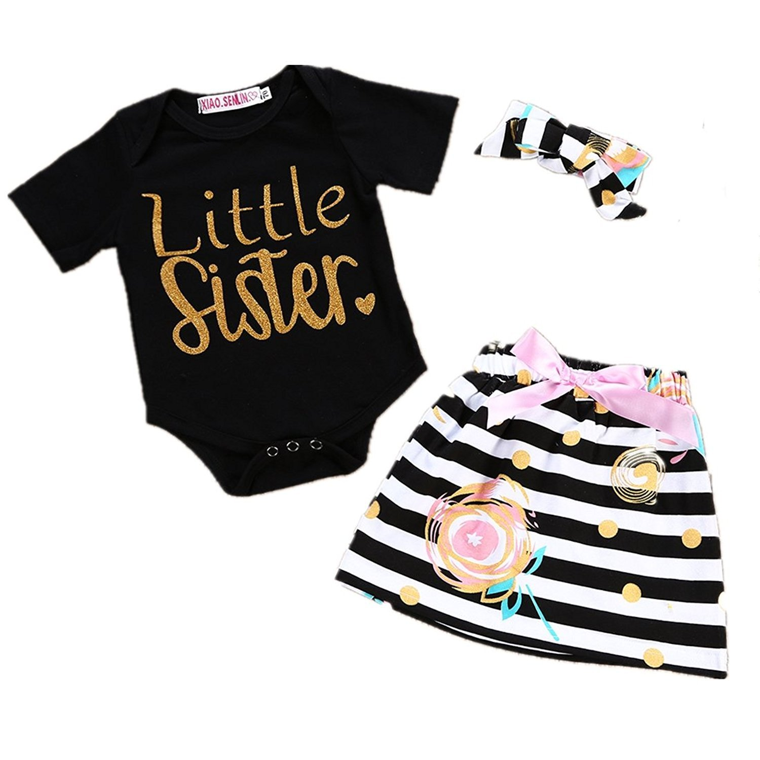 Angelchild Baby Girls Little Big Sister T Shirt and Striped Skirt and Headband Outfits Set
