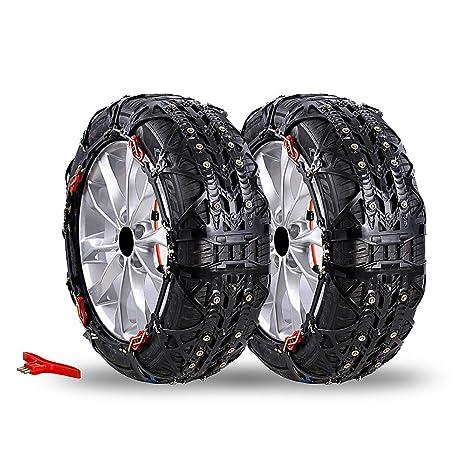 Coche antideslizante seguridad neumático rueda nieve cadena con Icebreaking pines, compatible con neumático 145/