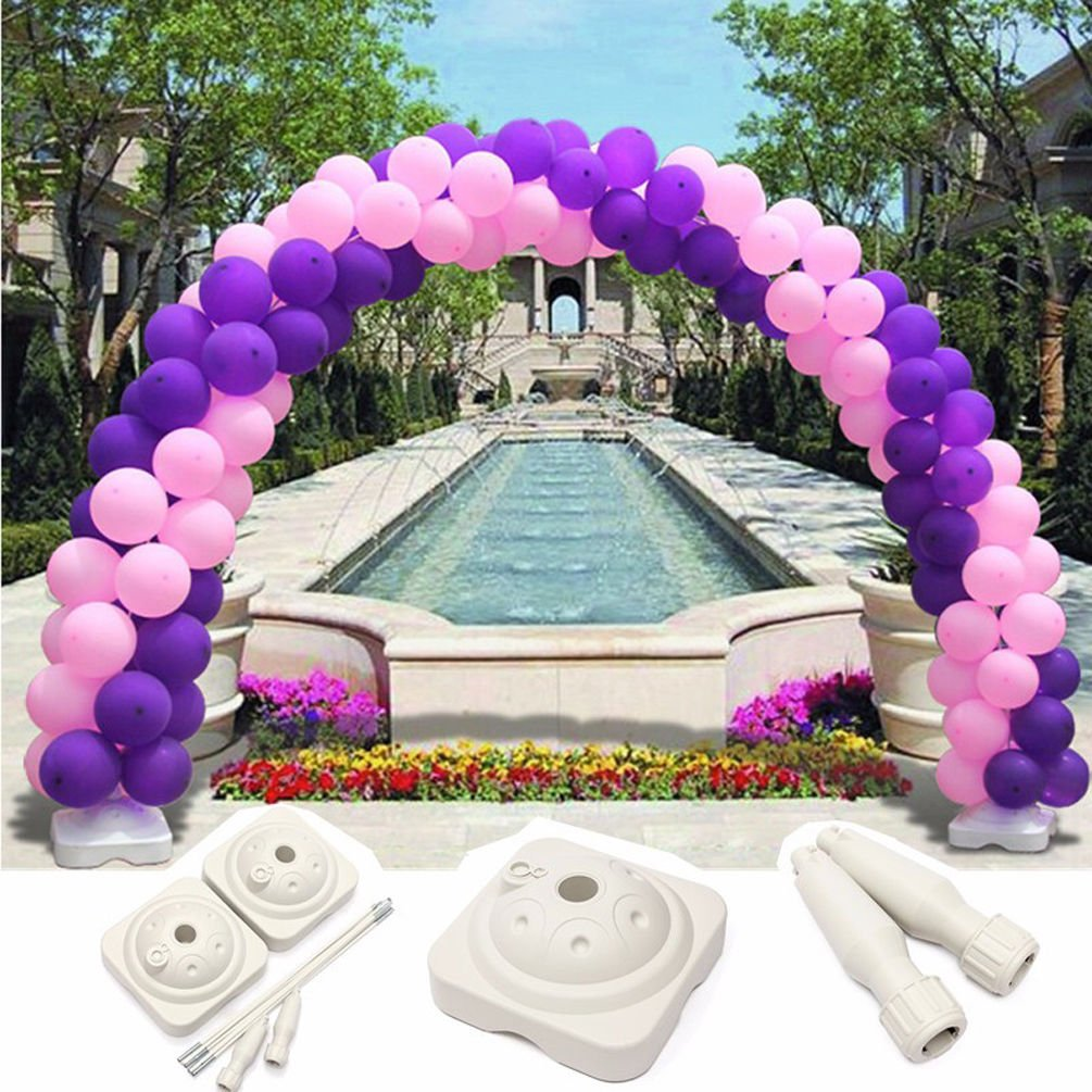 UNHO Balloon Arch Kit Plastic Balloon Column Stand Gate for Wedding Party Event Decoration, 13Ft Tall & 16Ft Wide, with Water Fillable Base Stand 100Pcs Buckles by UNHO (Image #3)