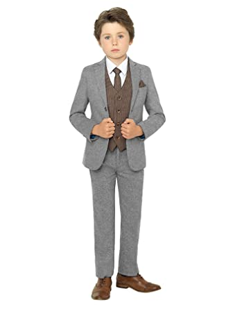dea51fdc8 Paisley of London, Boys Grey Suit, Page boy Suit, Brown Waistcoat, 9 Years:  Amazon.co.uk: Clothing