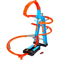 Hot Wheels Sky Crash Tower Track Set, 2.5ft/ 83cm High with Motorized Booster, Orange Track and 1 Hot Wheels Vehicle…