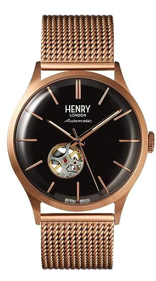 Henry London Reloj Analógico para Hombre de Automático con Correa en Acero Inoxidable HL42-AM0286: Amazon.es: Relojes