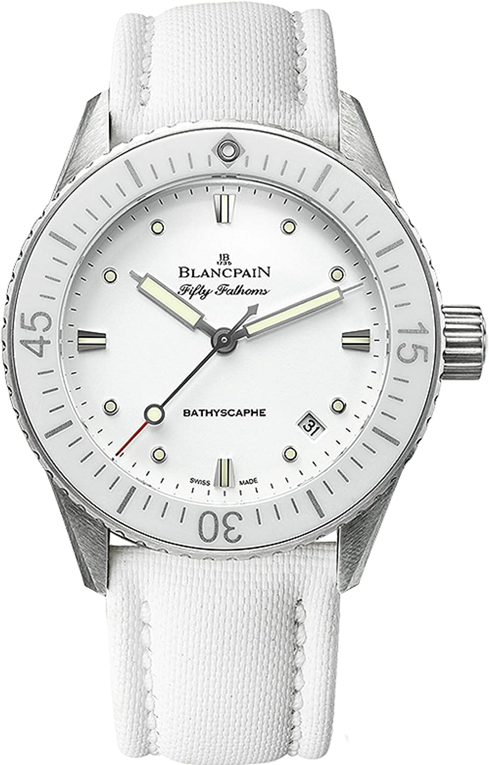Blancpain Fifty Fathoms Bathyscaphe Automatic 38mm White Ladies Watch 5100-1127-W52A
