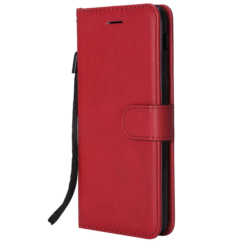 DENDICO Coque Galaxy A6, PU en Cuir Coque Portefeuille É tui Housse, Design Classique TPU Coque pour Samsung Galaxy A6 - Rouge PU en Cuir Coque Portefeuille Étui Housse DDCFR13A6-2403