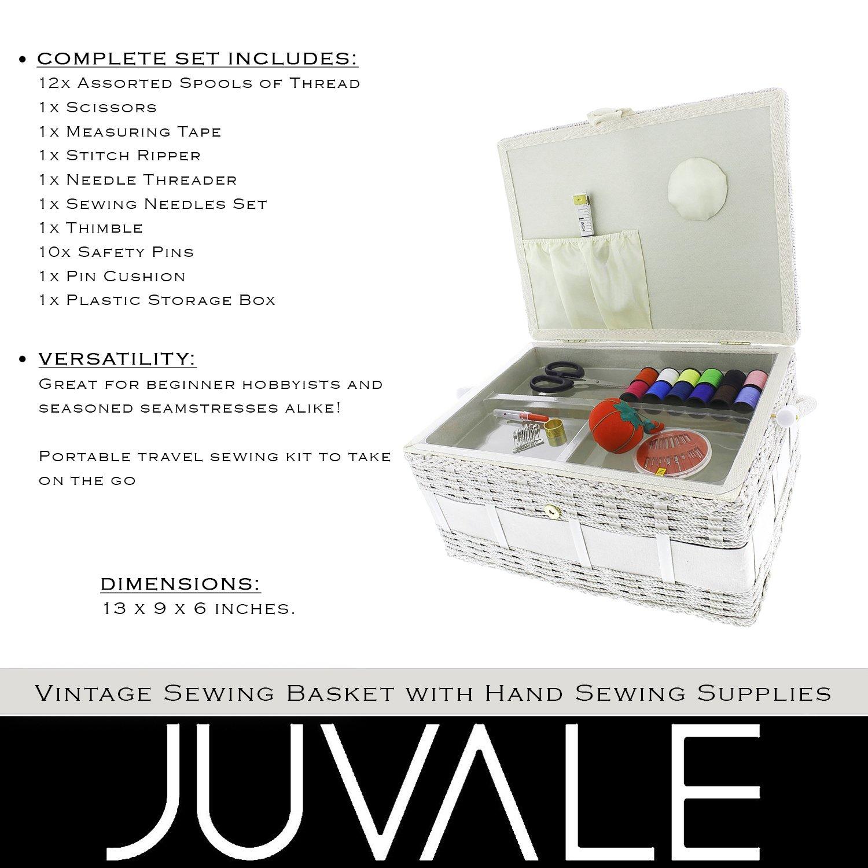 Vintage cesta de costura Kit de caja organizadora con suministros de costura a mano y nociones, con forma rectangular, 13 x 9 x 6 cm: Amazon.es: Juguetes y ...