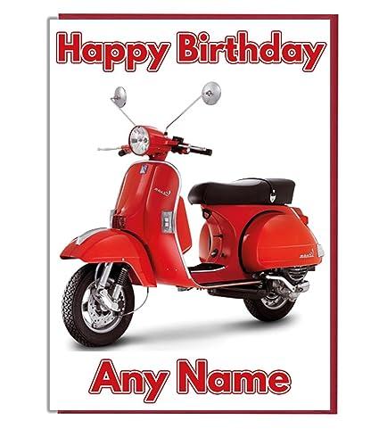 Vespa Scooter personalizado tarjeta de cumpleaños – cualquier nombre y edad
