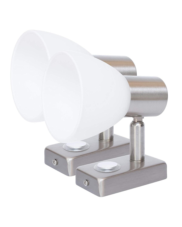 LIGHTEU, 2X 12V 3W D1 Decken- / Wandstrahler, Nickel-Finish, Nachttischlampe, Leselampe mit Touch-Schalter dimmbar warmweiß /blaues Licht fü r Yacht, Caravan, RV