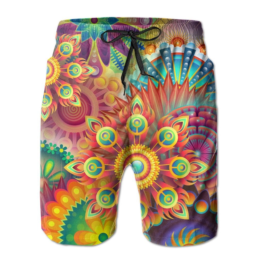 NGFF Abstract Colorful Floral Summer Casual Style Adjustable Beach Home Sport Shorts