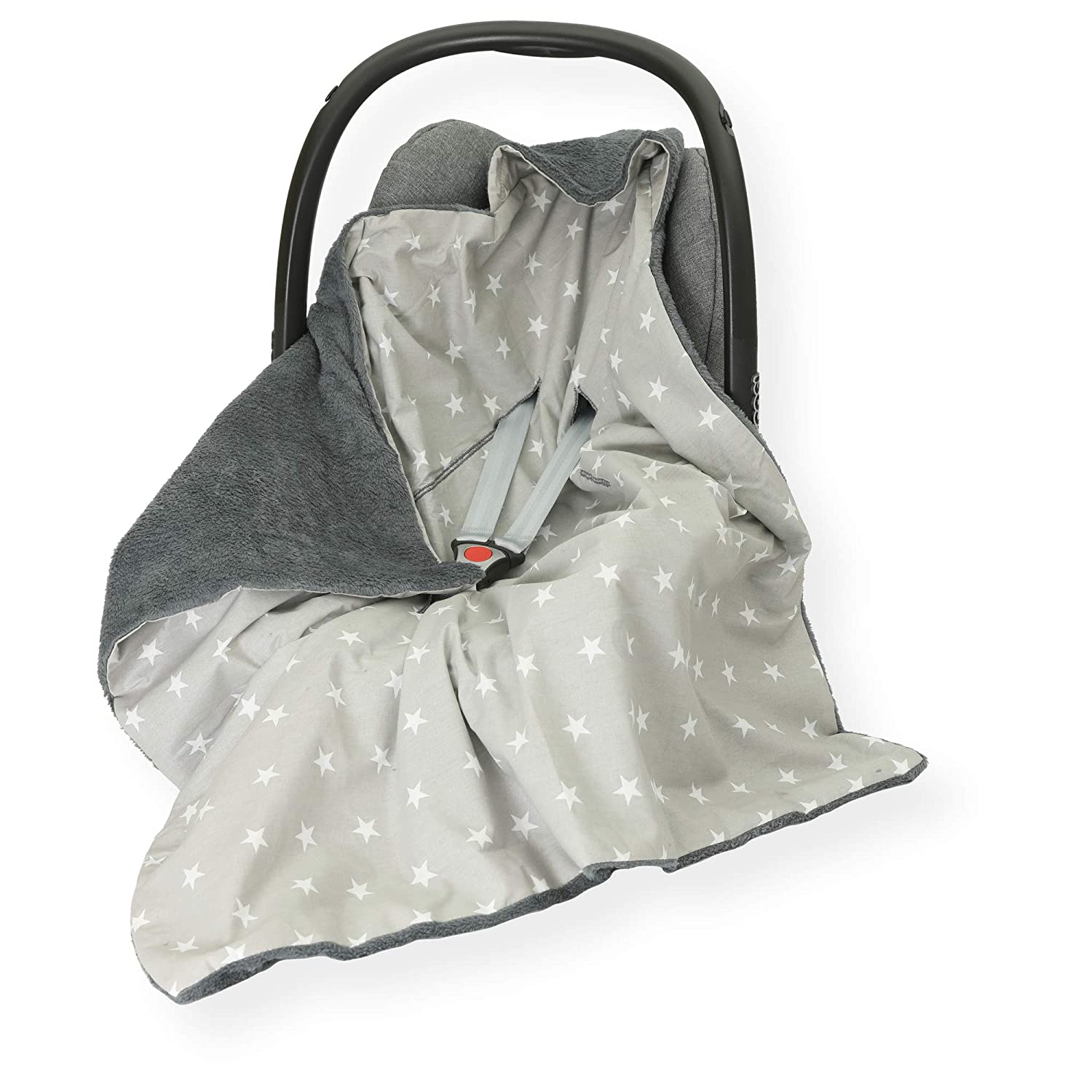 LG Star - Grey//Grey Sided 100 x 100cm Hooded Blanket with SEAT Belt Holes CAR SEAT Blanket//Cover//COSYTOES FOOTMUFF Double