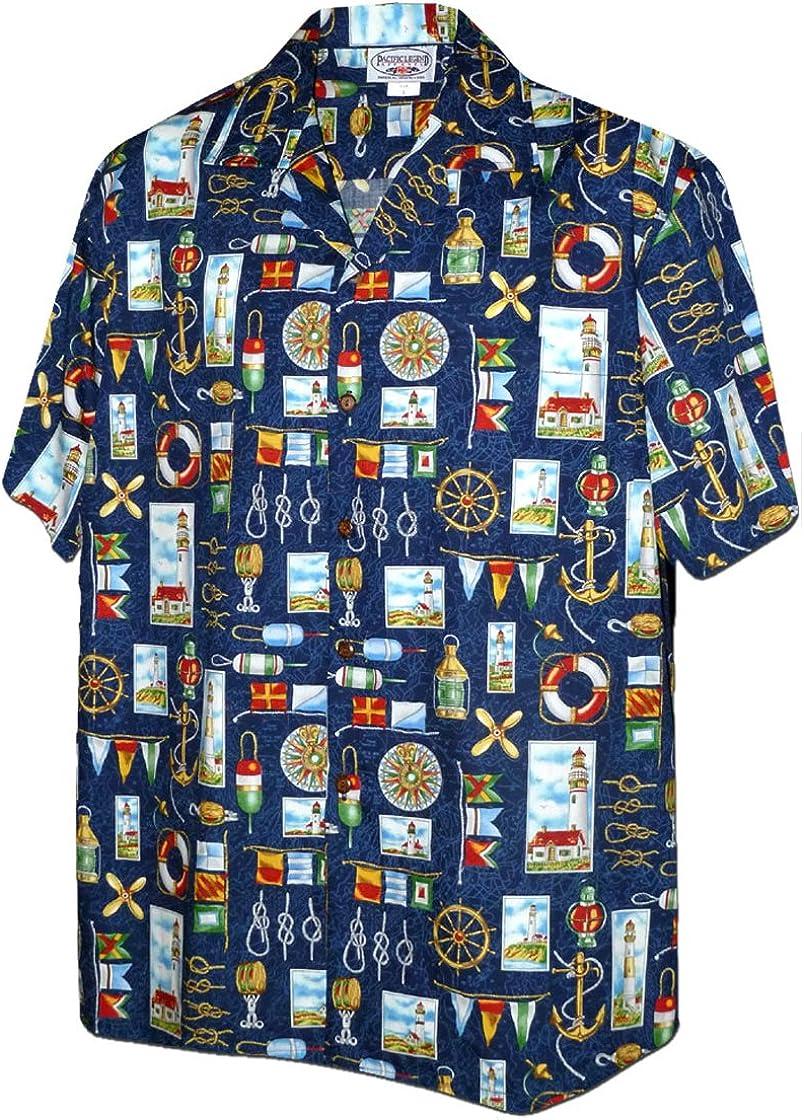 Pacific Legend Nautical Sailing Lighthouses Hawaiian Shirt (2X, Navy)