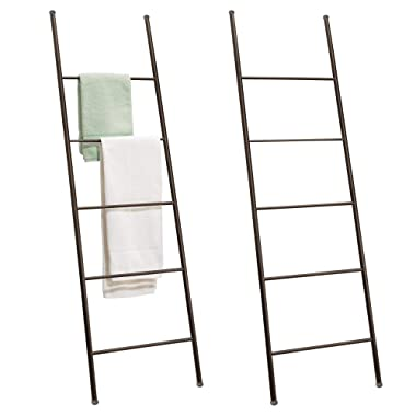 mDesign Free Standing Bath Towel Bar Storage Ladder - Pack of 2, Bronze