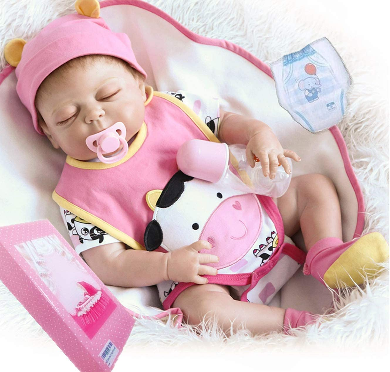 Muñecas Reborn De Silicona Cuerpo Completo De 22 0 In Realista Bebé Reborn Niña Muñecas Durmiendo Realismo Bebé Muñeca Bebé Muñeca Lavable Ojos Cerrados Reborn Bebé Niñas Toys Games