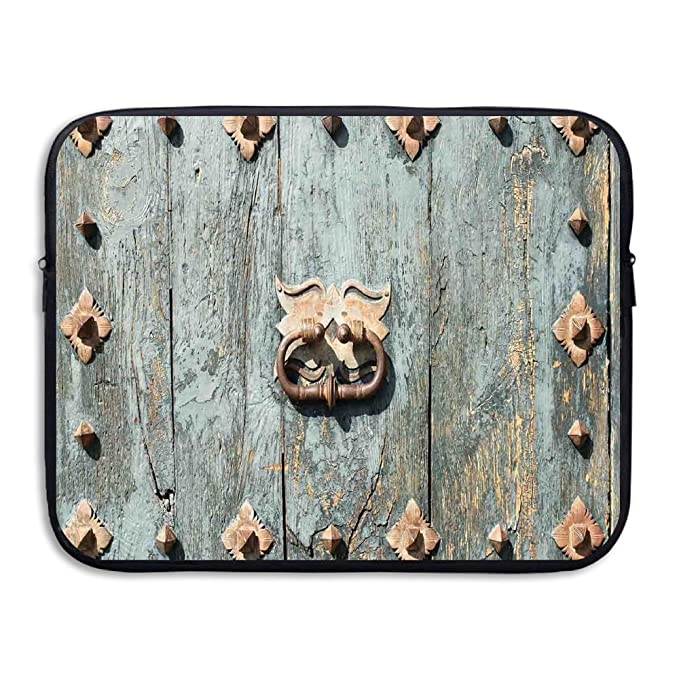 XINSHOU European Cathedral With Rusty Old Door Knocker Gothic Medieval  Times Spanish Style Decorative Laptop Sleeve