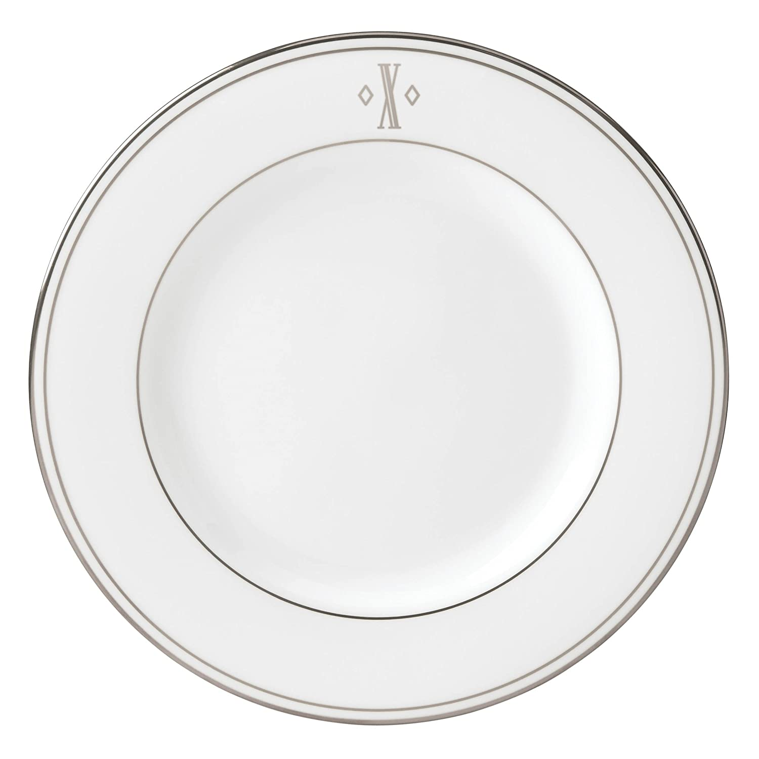 Lenox Federal Platinum Block Monogram Dinnerware Salad Plate, X 872820