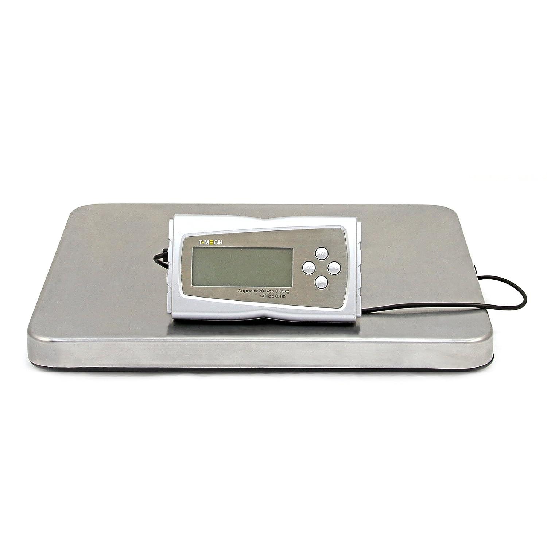 T-Mech - Bilancia Postale Digitale 200kg in Acciaio 41cm x 36cm per Pesare Propotti Postali, Pacchi e Scatole