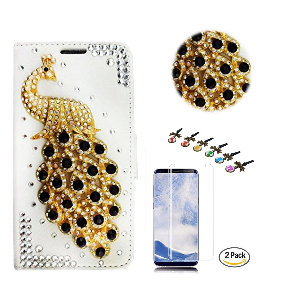 STENES Galaxy S8 Plus Case - STYLISH - 3D Handmade Crystal Peacock Design Wallet Credit Card Slots Fold Media Stand Leather Cover for Samsung Galaxy S8 Plus with Screen Protector - Black